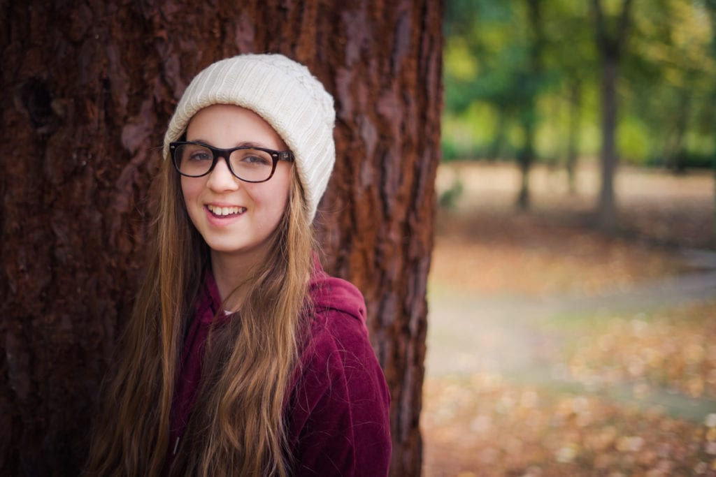 teenager white hat autumn